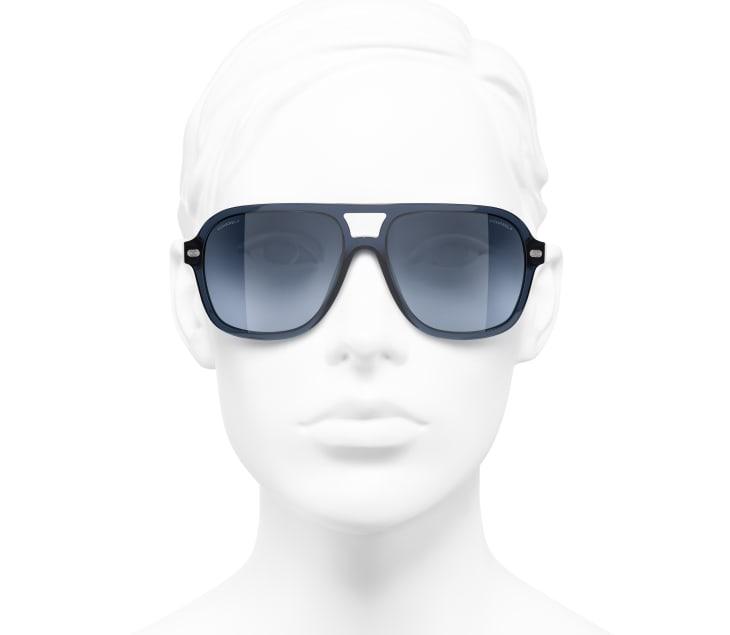 image 5 - Pilot Sunglasses - Acetate & Lambskin - Dark Blue