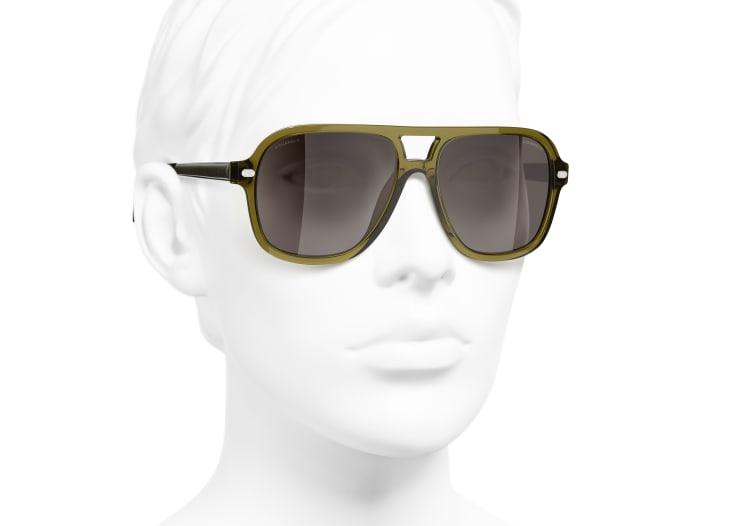 image 6 - Pilot Sunglasses - Acetate & Lambskin - Khaki