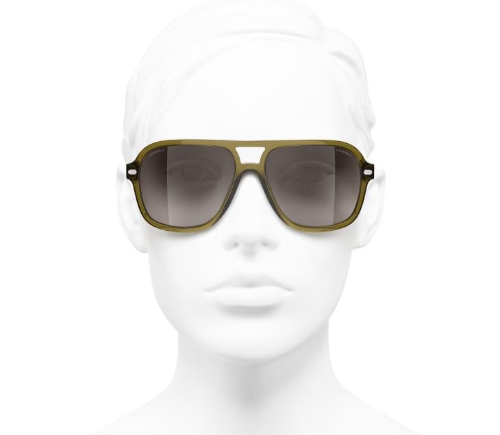 image 5 - Pilot Sunglasses - Acetate & Lambskin - Khaki