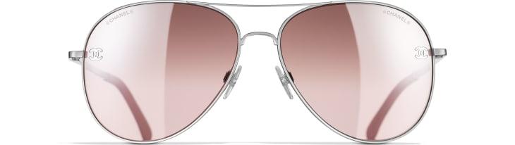 image 2 - Pilot Sunglasses - Titanium & Calfskin - Silver & Light Pink