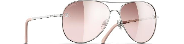 image 1 - Pilot Sunglasses - Titanium & Calfskin - Silver & Light Pink