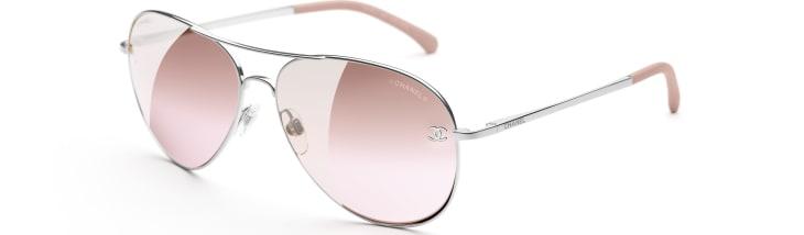 image 4 - Pilot Sunglasses - Titanium & Calfskin - Silver & Light Pink