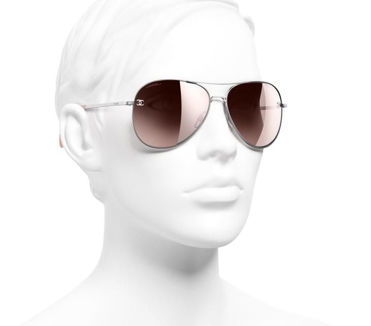 image 6 - Pilot Sunglasses - Titanium & Calfskin - Silver & Light Pink