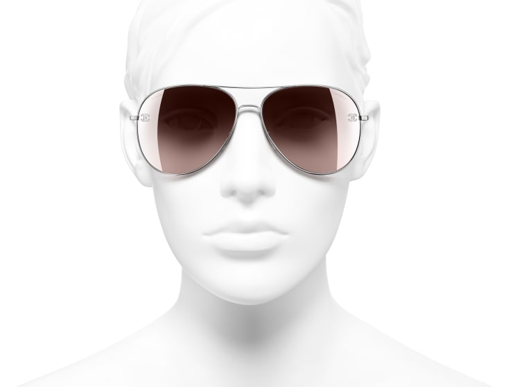 image 5 - Pilot Sunglasses - Titanium & Calfskin - Silver & Light Pink