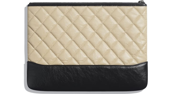 image 2 - Pouch - Aged Calfskin, Smooth Calfskin & Gold-Tone Metal - Beige & Black