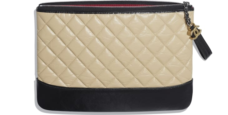 image 3 - Pouch - Aged Calfskin, Smooth Calfskin & Gold-Tone Metal - Beige & Black