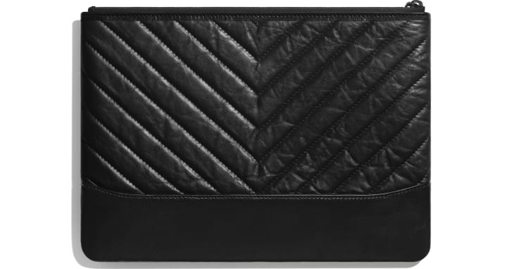 image 2 - Pouch - Aged Calfskin, Smooth Calfskin & Black Metal - Black