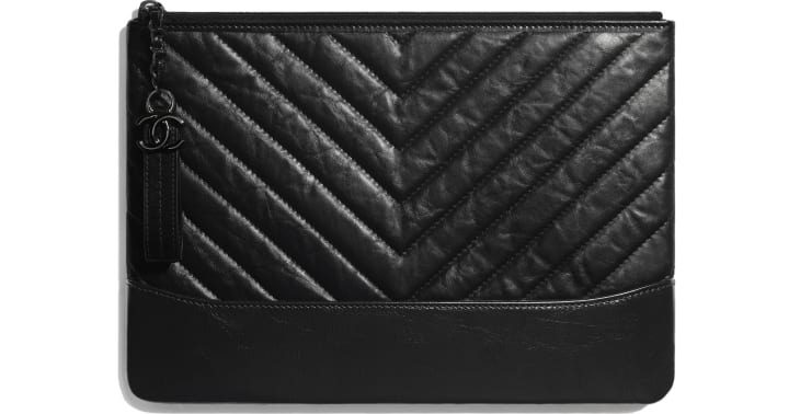image 1 - Pouch - Aged Calfskin, Smooth Calfskin & Black Metal - Black