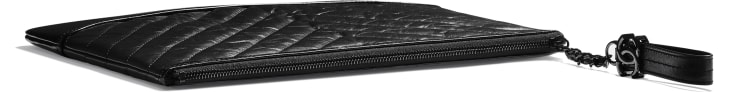 image 4 - Pouch - Aged Calfskin, Smooth Calfskin & Black Metal - Black