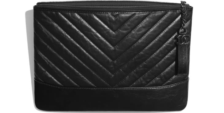 image 3 - Pouch - Aged Calfskin, Smooth Calfskin & Black Metal - Black