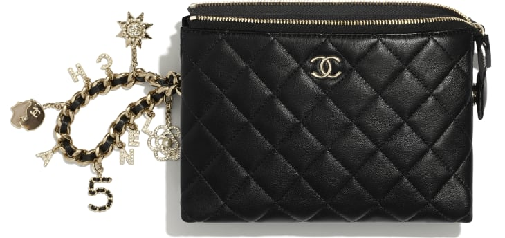 image 2 - Pouch - Lambskin, Charms & Gold-Tone Metal - Black