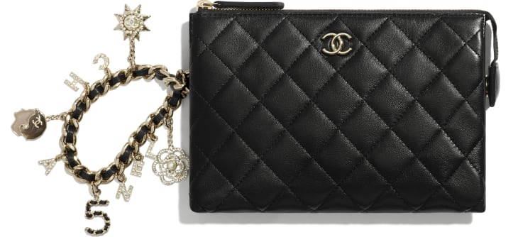 image 1 - Pouch - Lambskin, Charms & Gold-Tone Metal - Black