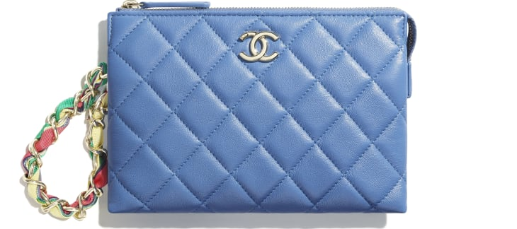 image 1 - Pochette - Agneau brillant, ruban & métal doré - Bleu