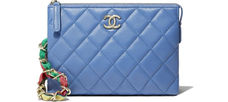 image 4 - Pouch - Shiny Lambskin, Ribbon & Gold-Tone Metal - Blue