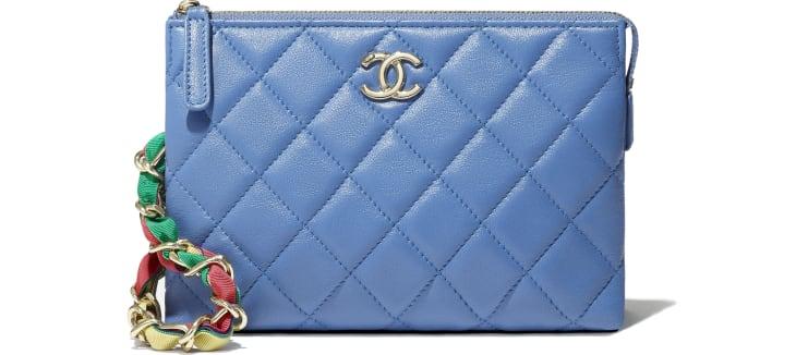 image 4 - Pochette - Agneau brillant, ruban & métal doré - Bleu