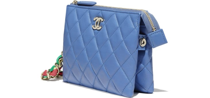 image 3 - Pouch - Shiny Lambskin, Ribbon & Gold-Tone Metal - Blue