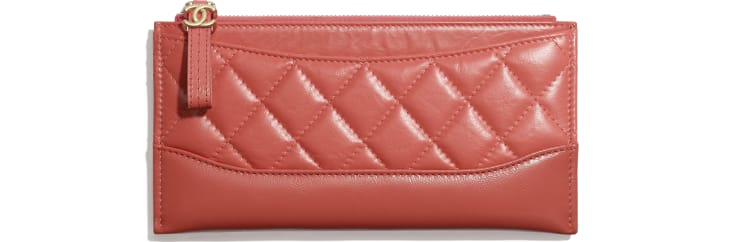 image 1 - Pouch - Aged Calfskin, Smooth Calfskin, Gold-Tone, Silver-Tone & Ruthenium-Finish Metal - Coral