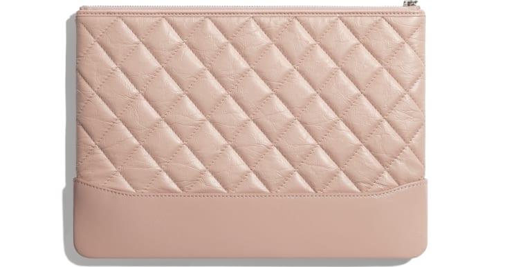 image 2 - Pouch - Aged Calfskin, Smooth Calfskin & Gold-Tone Metal - Light Pink