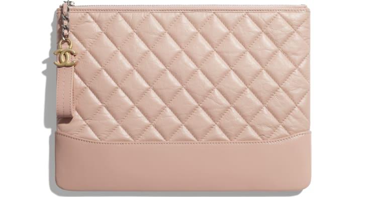 image 1 - Pouch - Aged Calfskin, Smooth Calfskin & Gold-Tone Metal - Light Pink