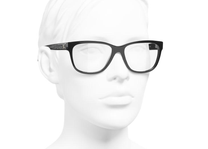image 6 - Rectangle Eyeglasses - Acetate & Metal - Black