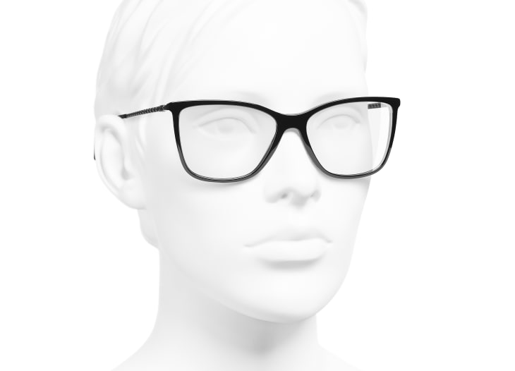 image 6 - Rectangle Eyeglasses - Acetate & Strass - Black