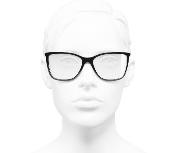 image 5 - Rectangle Eyeglasses - Acetate & Strass - Black