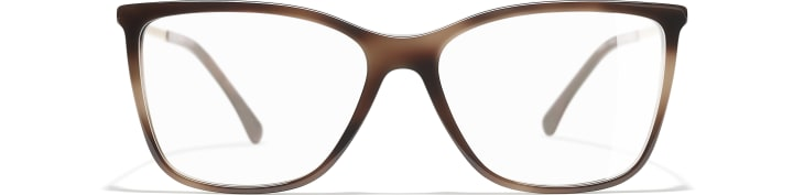 image 2 - Rectangle Eyeglasses - Acetate & Strass - Brown