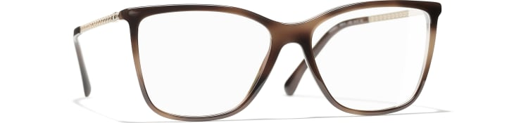 image 1 - Rectangle Eyeglasses - Acetate & Strass - Brown