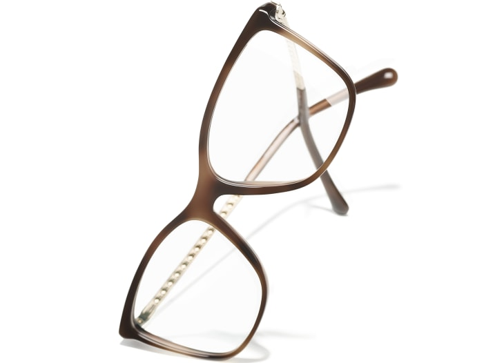 image 4 - Rectangle Eyeglasses - Acetate & Strass - Brown