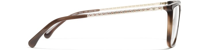image 3 - Rectangle Eyeglasses - Acetate & Strass - Brown