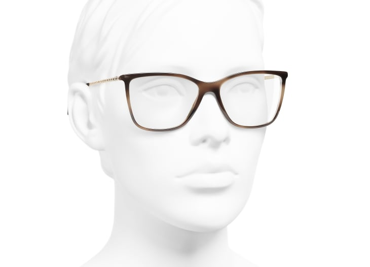 image 6 - Rectangle Eyeglasses - Acetate & Strass - Brown