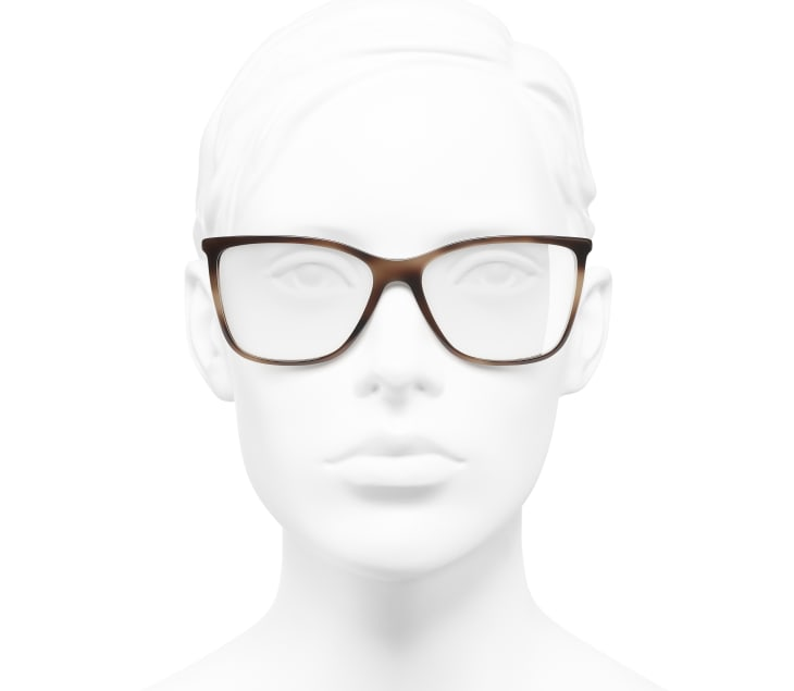 image 5 - Rectangle Eyeglasses - Acetate & Strass - Brown