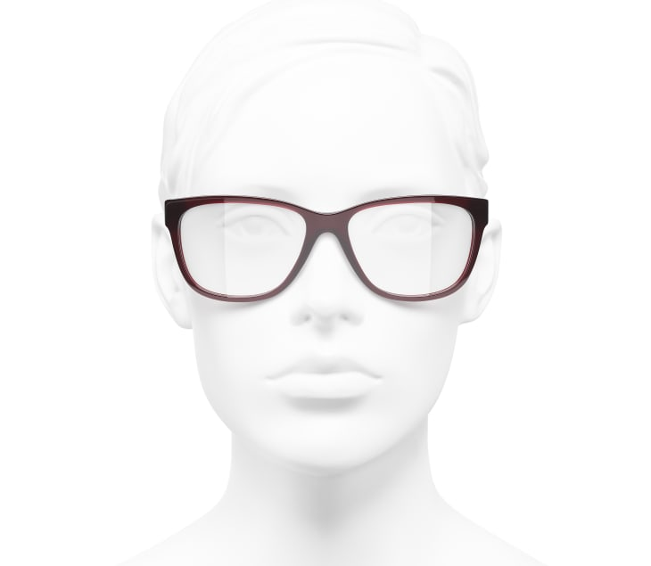 image 5 - Rectangle Eyeglasses - Acetate & Metal - Dark Red