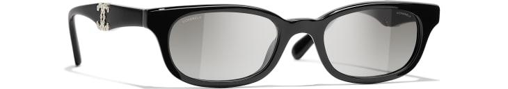 image 1 - Rectangle Sunglasses - Acetate - Black