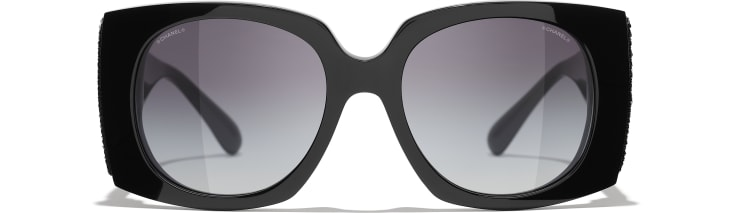 image 2 - Rectangle Sunglasses - Acetate & Sequins - Black