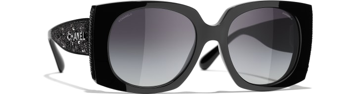 image 1 - Rectangle Sunglasses - Acetate & Sequins - Black