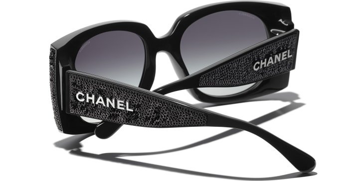 image 4 - Rectangle Sunglasses - Acetate & Sequins - Black