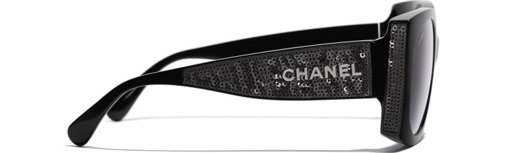 image 3 - Rectangle Sunglasses - Acetate & Sequins - Black
