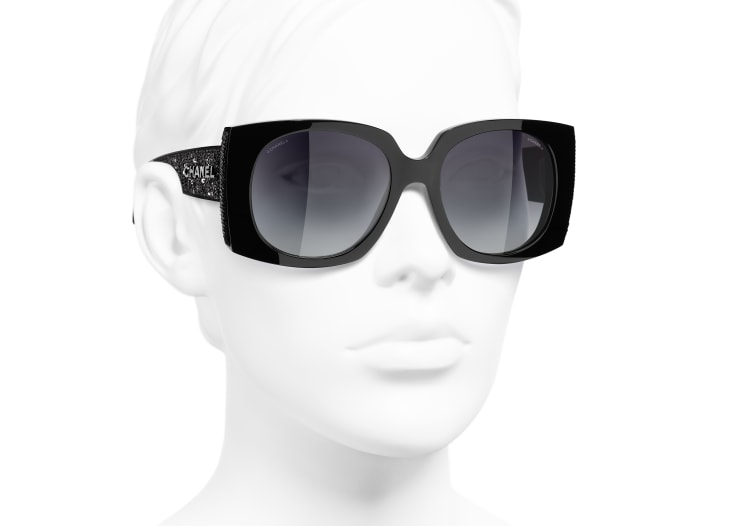 image 6 - Rectangle Sunglasses - Acetate & Sequins - Black