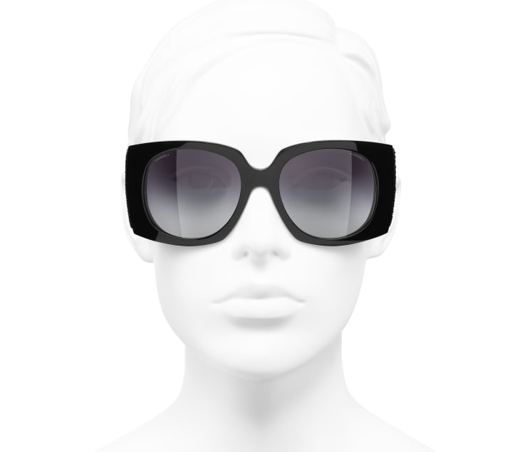 image 5 - Rectangle Sunglasses - Acetate & Sequins - Black