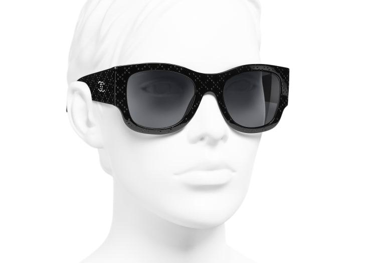 image 6 - Rectangle Sunglasses - Acetate & Strass - Black