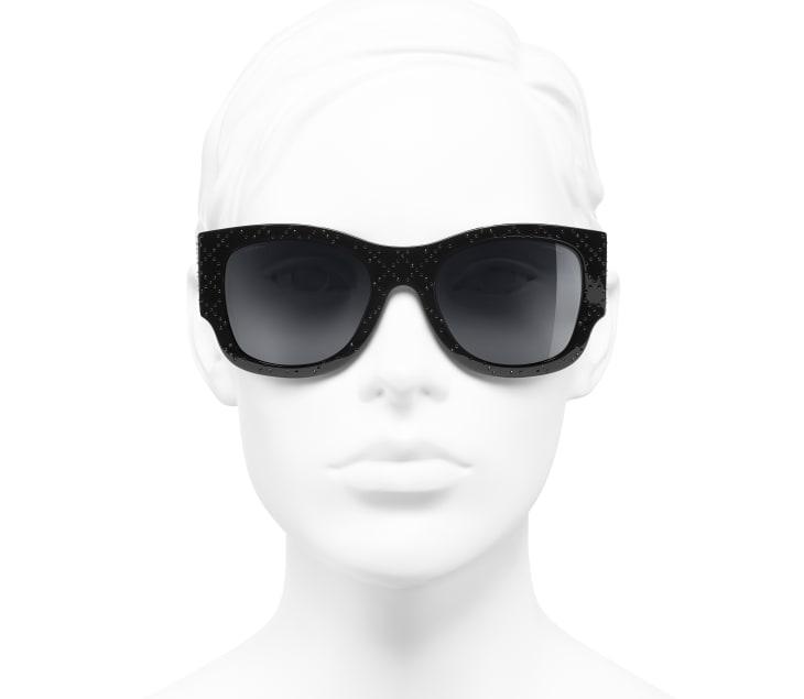 image 5 - Rectangle Sunglasses - Acetate & Strass - Black