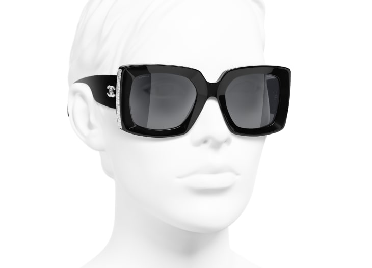 image 6 - Rectangle Sunglasses - Acetate - Black & Silver