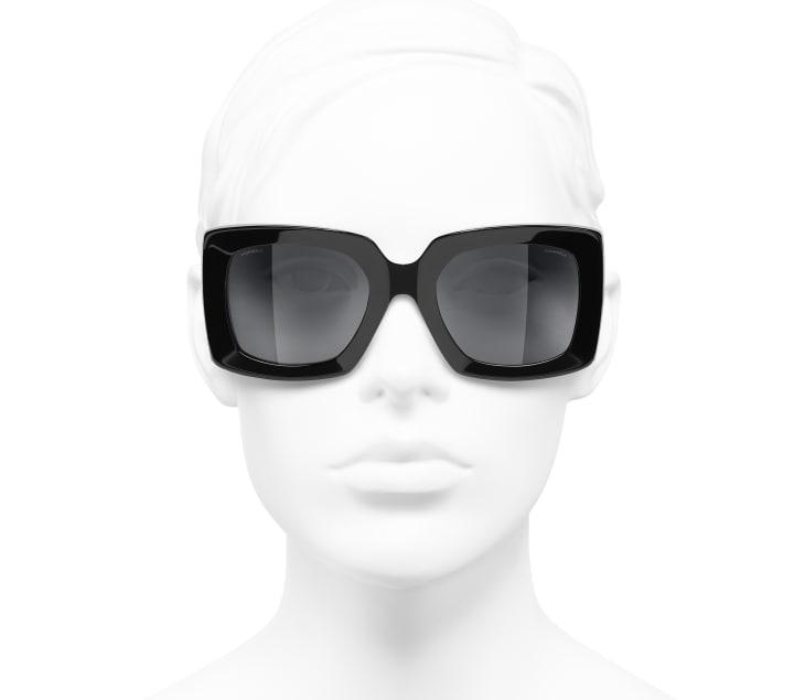 image 5 - Rectangle Sunglasses - Acetate - Black & Silver
