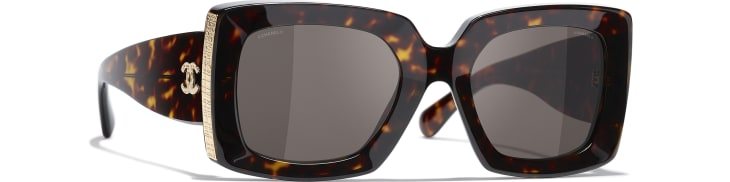 image 1 - Rectangle Sunglasses - Acetate - Dark Tortoise & Gold