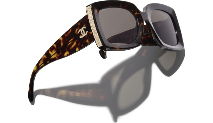 image 4 - Rectangle Sunglasses - Acetate - Dark Tortoise & Gold