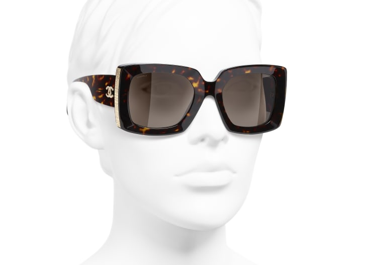 image 6 - Rectangle Sunglasses - Acetate - Dark Tortoise & Gold