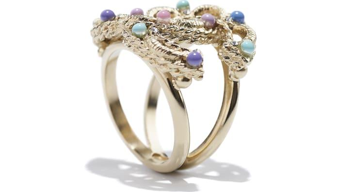 image 2 - Anel - Metal, Pérolas De Vidro & Strass - Dourado, Multicolorido & Cristal