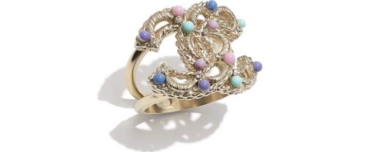 image 1 - Anel - Metal, Pérolas De Vidro & Strass - Dourado, Multicolorido & Cristal