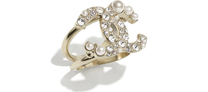 image 1 - Ring - Metal, Glass Pearls & Strass - Gold, Pearly White & Crystal